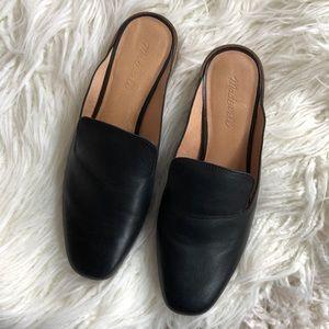 Black MADEWELL leather heels tan slip ons mules 10